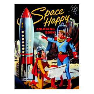 Retro Vintage Kitsch 60s Space Happy Coloring Book Postcard