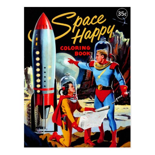 Retro Vintage Kitsch 60s Space Happy Coloring Book Post Card