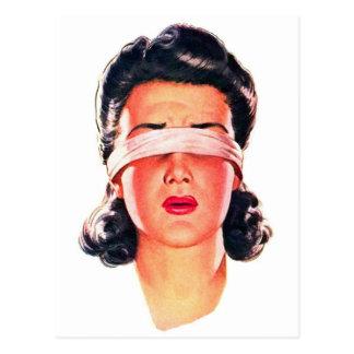 Retro Vintage Kitsch Ad 50s Women Blindfolded Postcard