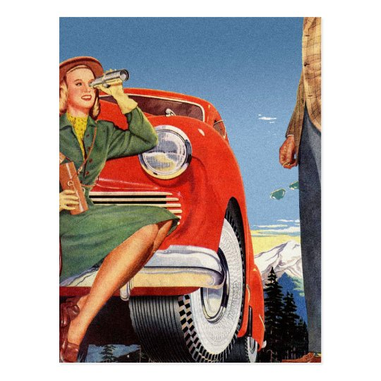 Retro Vintage Kitsch Ad Auto Woman Sightseeing Postcard