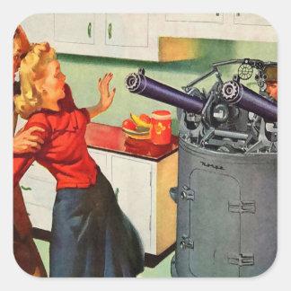 Retro Vintage Kitsch Ad Kitchen Battle Square Sticker