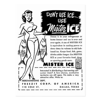 Retro Vintage Kitsch Ad Mister Ice Girl Postcard