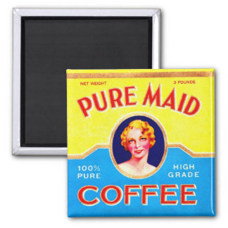 Retro Vintage Kitsch Ad Pure Made Coffee Can Magnet