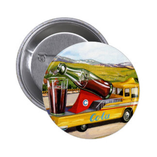Retro Vintage Kitsch Advertising 60s Cola Truck Buttons