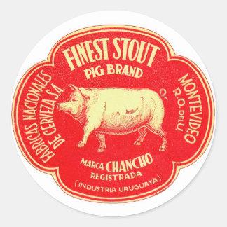 Retro Vintage Kitsch Advertising Finest Pig Stout Round Sticker