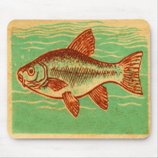 Retro Vintage Kitsch Advertising Fish Illustration Mouse Pads