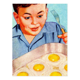 Retro Vintage Kitsch Advertisment Fried Eggs! Postcard