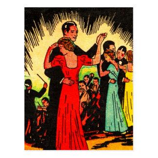 Retro Vintage Kitsch Ballroom Dancers Postcard