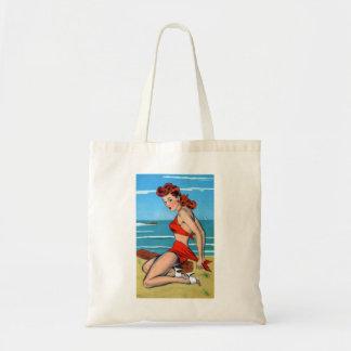 Retro Vintage Kitsch Bikini Pin Up Postcard Girl Budget Tote Bag