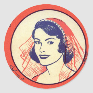 Retro Vintage Kitsch Bridal Shower Party Games Round Sticker