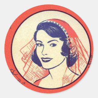 Retro Vintage Kitsch Bridal Shower Party Games Round Sticker