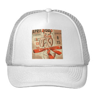 Retro Vintage Kitsch Calendar German 40s Pin Up Trucker Hat