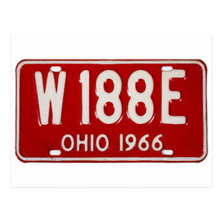 Retro Vintage Kitsch Car License Plate Ohio 1966 Postcard
