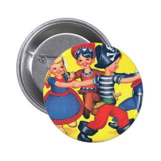 Retro Vintage Kitsch Children Happy Holidays 2 Inch Round Button