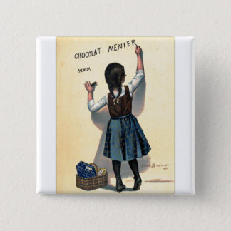 Retro Vintage Kitsch Chocolate Chocolat Girl 2 Inch Square Button