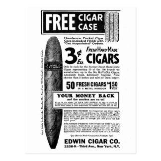 Retro Vintage Kitsch Cigar Ad Cigars 3¢, Free Case Postcard