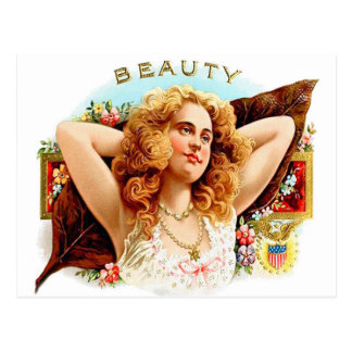 Retro Vintage Kitsch Cigar Box Art 'Beauty' Girl Postcard