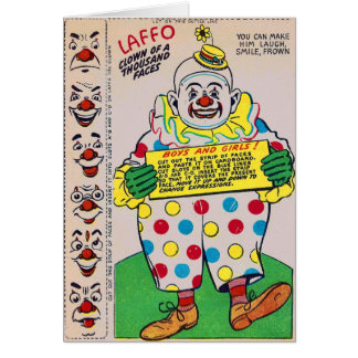 Retro Vintage Kitsch Clown of 1,000 Faces Laffo Card
