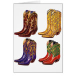 Retro Vintage Kitsch Colourful Cowboy Boots Greeting Card