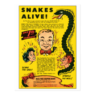 Retro Vintage Kitsch Comic Ad Snakes Alive Postcard
