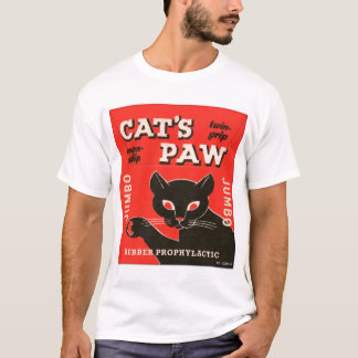 Retro Vintage Kitsch Condom Package Cat's Paw T-Shirt