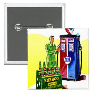 Retro Vintage Kitsch COR Gas Station Ad UK Energo Pinback Buttons