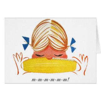 Retro Vintage Kitsch Corn On The Cob Cartoon Girl Card