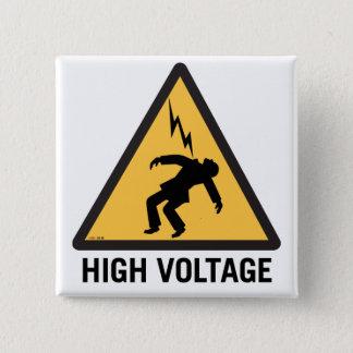Retro Vintage Kitsch Danger High Voltage Sign 2 Inch Square Button