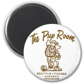 Retro Vintage Kitsch Diner 'The Pup Room' 2 Inch Round Magnet