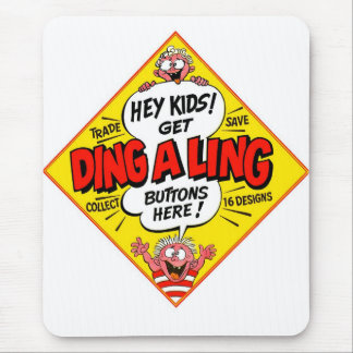 Retro Vintage Kitsch Ding-a-Ling Butons Mouse Pad