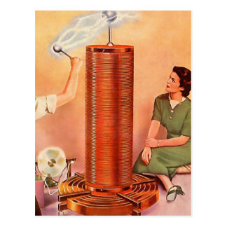 Retro Vintage Kitsch Electricity Tesla Coil Postcard