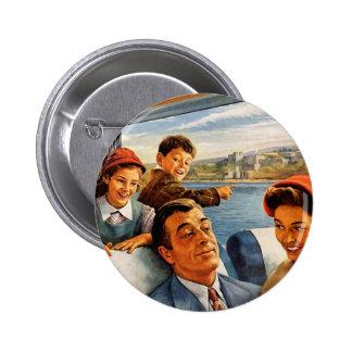 Retro Vintage Kitsch 'Family Train Trip' 2 Inch Round Button