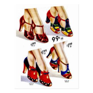 Retro Vintage Kitsch Fashion 40s Women s Shoes Postcards