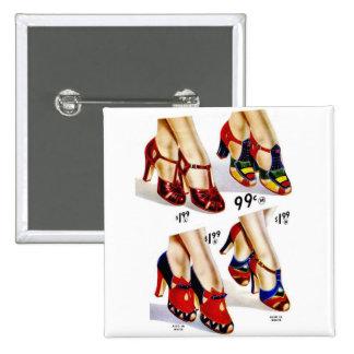 Retro Vintage Kitsch Fashion 40s Women's Shoes 2 Inch Square Button