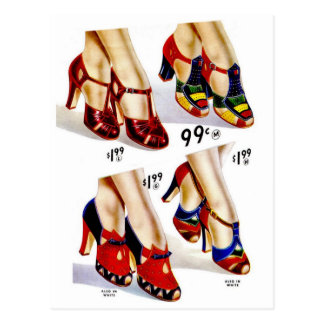 Retro Vintage Kitsch Fashion 40s Women's Shoes Postcard
