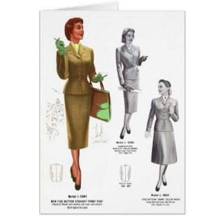 Retro Vintage Kitsch Fashion Women's Wear Card