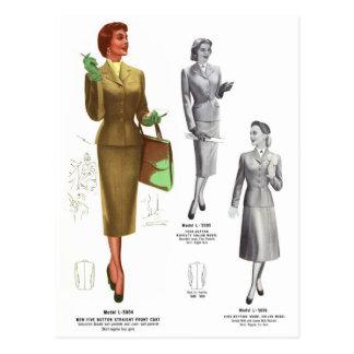 Retro Vintage Kitsch Fashion Women's Wear Postcard