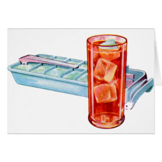 Retro Vintage Kitsch Fifties Ice Cube Tray Cubes Greeting Card