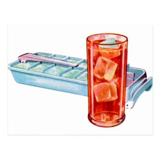 Retro Vintage Kitsch Fifties Ice Cube Tray Cubes Postcard