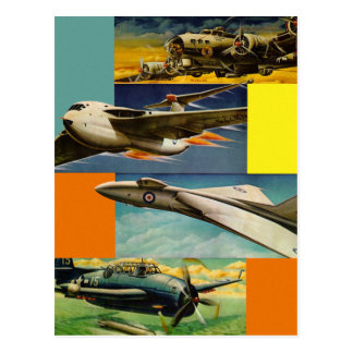 Retro Vintage Kitsch Fighter Jets Illustrations Postcard