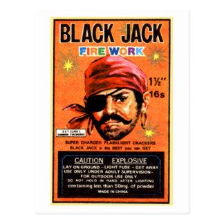 Retro Vintage Kitsch Firecracker Blackjack Brand Postcard