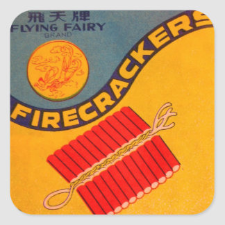 Retro Vintage Kitsch Firecracker Flying Fairy Square Sticker