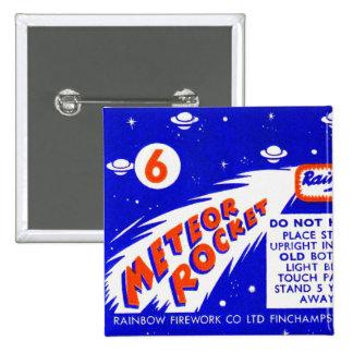 Retro Vintage Kitsch Firework Meteor Rocket Pinback Button