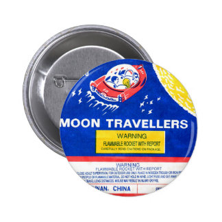 Retro Vintage Kitsch Firework Rocket Moon Traveler 2 Inch Round Button