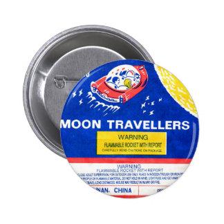 Retro Vintage Kitsch Firework Rocket Moon Traveler 2 Inch Round Button