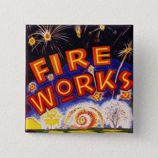 Retro Vintage Kitsch Fireworks Firecracker Sign 2 Inch Square Button