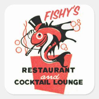Retro Vintage Kitsch Fishy's Cocktails Restaurant Square Sticker