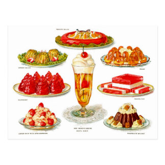 Retro Vintage Kitsch Food 30s Gelatin Desert Art Postcard