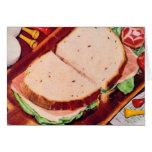 Retro Vintage Kitsch Food Ham on Rye Sandwich Card