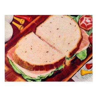 Retro Vintage Kitsch Food Ham on Rye Sandwich Postcard